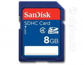 8GB SanDisk Secure Digital HC Card (SDHC) (Class 4)