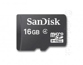 16GB Sandisk Micro SDHC Memory Card with Adapter