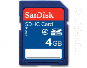 4GB SanDisk Secure Digital HC Card (SDHC) (Class 4)